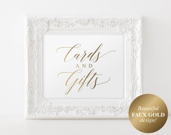 Gold Cards and Gifts Sign, Cards and Gifts Printable, Wedding Sign, Wedding Printable, Gold Wedding, PDF Instant Download #BPB324_40 - Bliss Paper Boutique