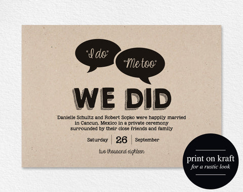 Elopement Announcement, Just Married Wedding Announcement, We Did, We Eloped, Elopement Template, Printable, PDF Instant Download #BPB179 - Bliss Paper Boutique