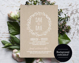 Save the Date Template, Blush Save the Date, Rustic Save the Date, Blush Wedding, Wedding Printable, Kraft, PDF Instant Download #BPB218_2 - Bliss Paper Boutique