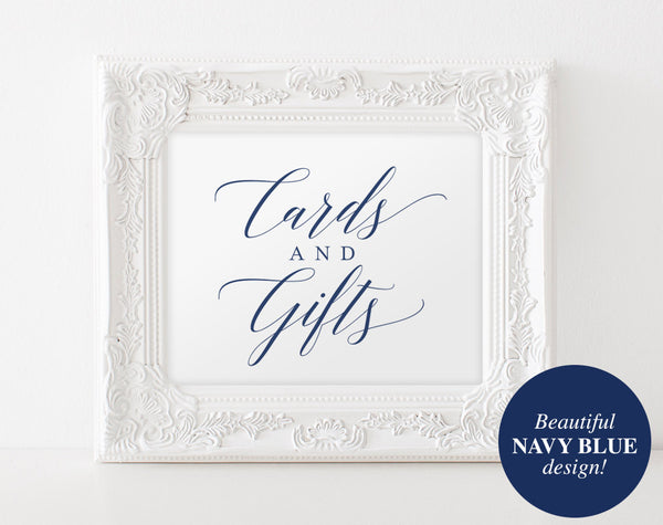 Cards and Gifts Sign, Cards and Gifts Printable, Wedding Signs, Gift Table Sign, Navy Wedding Printable, PDF Instant Download #BPB320_40 - Bliss Paper Boutique