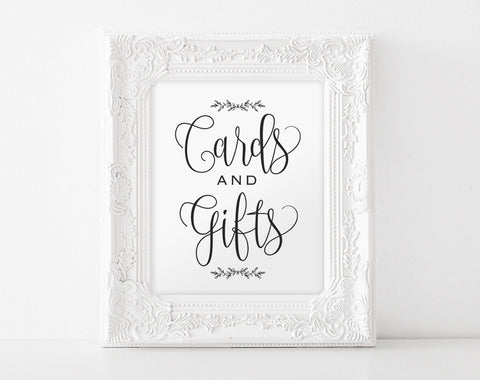 Cards and Gifts Sign, Gift Table Sign, Cards and Gifts Printable, Wedding Template, Rustic Wedding Sign, Instant Download #BPB202_40 - Bliss Paper Boutique