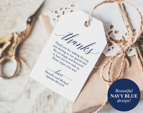 Thank You Tags, Wedding Thank You, Gift Tags, Wedding Favor, Thank You, Navy Wedding Printable, Navy Blue, PDF Instant Download #BPB320_32 - Bliss Paper Boutique