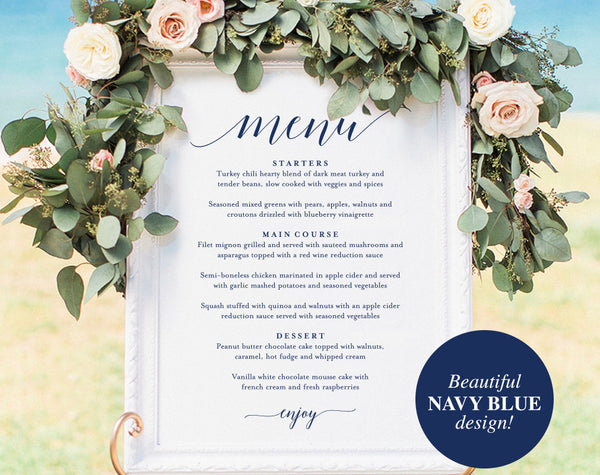 Wedding Menu Sign, Wedding Menu Board, Wedding Menu Poster, Wedding Printable, Wedding Sign, Template, PDF Instant Download #BPB320_55 - Bliss Paper Boutique
