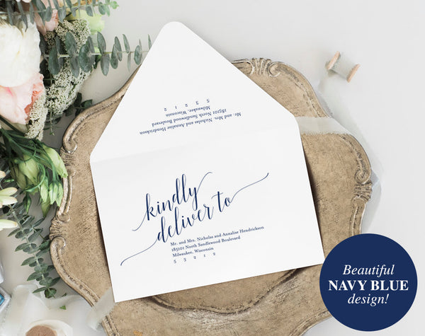 Calligraphy Envelope Printable, Envelope Template, Wedding Envelope, Navy Wedding, Blue Wedding, RSVP, PDF Instant Download #BPB320_34 - Bliss Paper Boutique