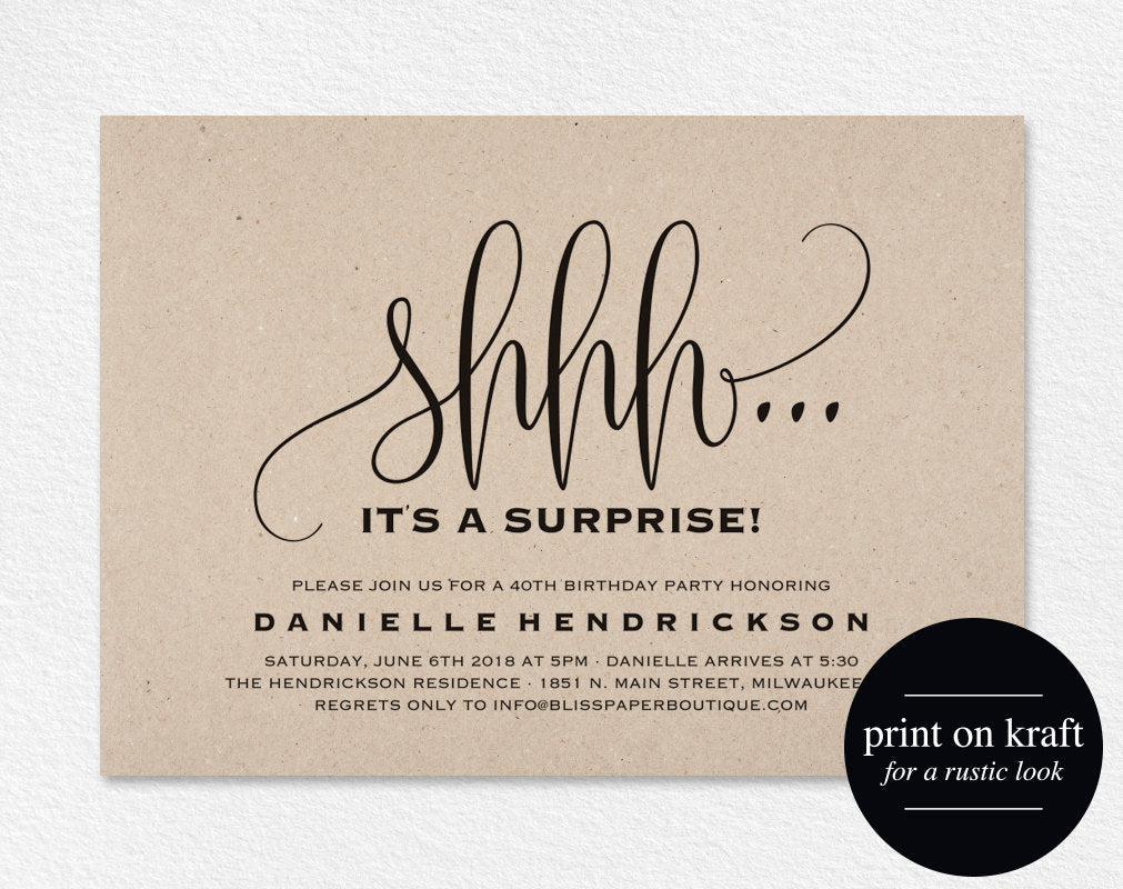 Surprise Birthday Invitation Party 50th Printable PDF