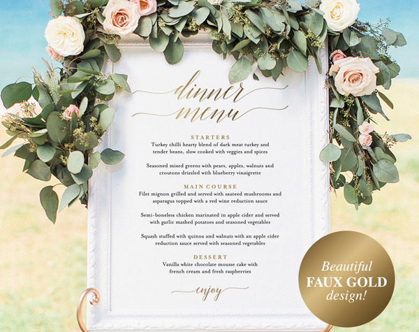 Wedding Menu Sign, Wedding Menu Board, Dinner Menu, Wedding Printable, Gold Wedding Sign, Template, PDF Instant Download #BPB324_55 - Bliss Paper Boutique