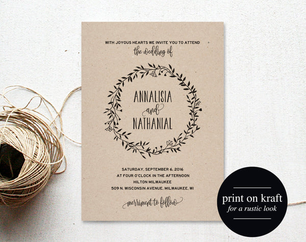 Rustic Wedding Invitation Template, Country Wedding, Invitation Template, Rustic Invite, Wedding Printable, PDF Instant Download #BPB224_1 - Bliss Paper Boutique