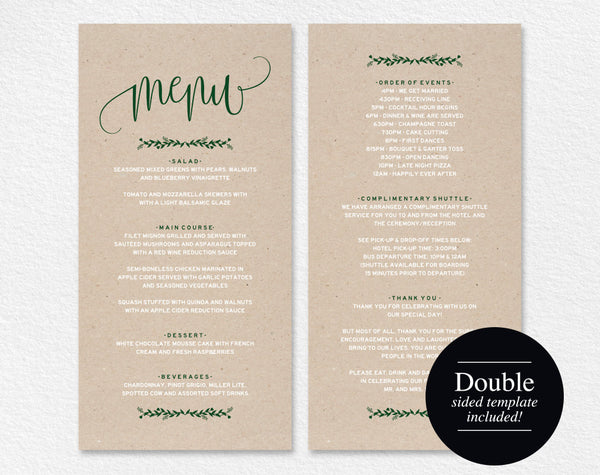 Wedding Menu Template, Menu Cards, Forest Green Wedding Menu, Menu Printable, Rustic Wedding, DIY Menu, PDF Instant Download #BPB221_4 - Bliss Paper Boutique