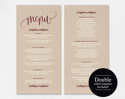 Wedding Menu Template, Menu Cards, Merlot Printable Wedding Menu, Menu Template Printable, Rustic Wedding, PDF Instant Download #BPB220_4 - Bliss Paper Boutique