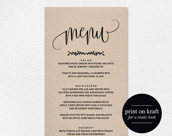 Wedding Menu Template, Menu Cards, Printable Wedding Menu, Menu Template, Wedding Menu Printable, PDF Instant Download #BPB224_4 - Bliss Paper Boutique