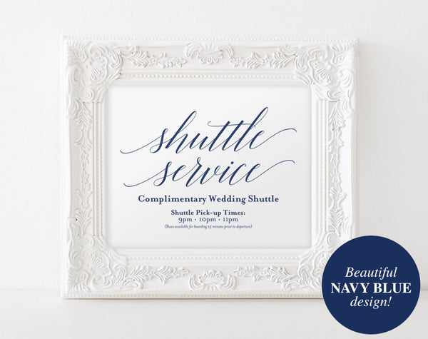 Shuttle Service Sign, Navy Wedding Sign, Wedding Printable, Blue Wedding, Wedding Shuttle, Wedding Template, PDF Instant Download #BPB320_78 - Bliss Paper Boutique