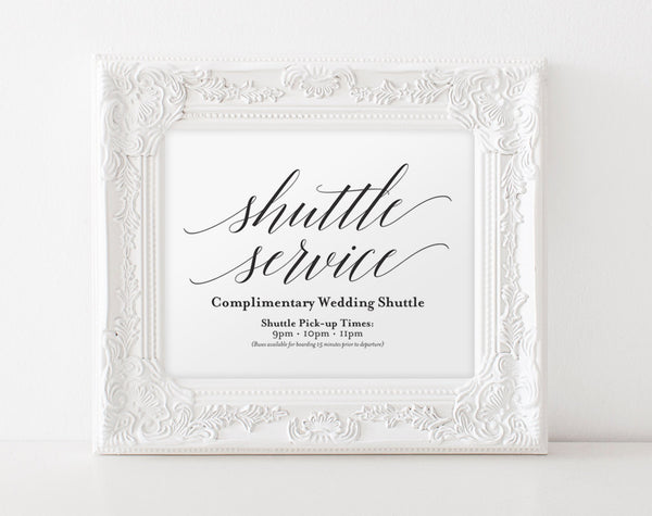 Shuttle Service Sign, Wedding Sign, Wedding Printable, Wedding Ideas, Wedding Shuttle, Wedding Template, PDF Instant Download #BPB310_78 - Bliss Paper Boutique