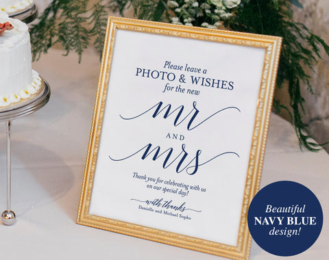 Photo Guest Book Sign, Wedding Guest Book Sign, Printable, Guest Book Alternative, Navy Wedding Sign, PDF Instant Download #BPB320_45B - Bliss Paper Boutique