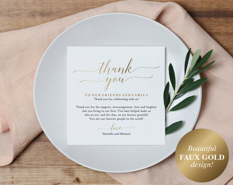 Wedding Thank You Card, Thank You Printable, Wedding Table Thank You, Elegant Wedding, Gold Wedding, PDF Instant Download #BPB324_14 - Bliss Paper Boutique