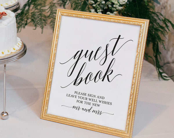 Guest Book Sign, Guest Book Wedding, Guest Book Ideas, Wedding Printable, Wedding Template, PDF Instant Download #BPB310_45C - Bliss Paper Boutique