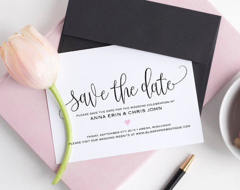 Save the Date Template, Save the Date Cards, Save the Date Printable, Wedding Printable, Wedding Template, PDF Instant Download #BPB322_2B - Bliss Paper Boutique