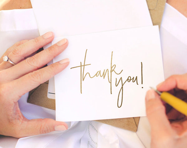 Gold Thank You Card, Wedding Thank You, Thank You Card Template, Thank You Printable, Folded, Tented, PDF Instant Download #BPB323_27 - Bliss Paper Boutique