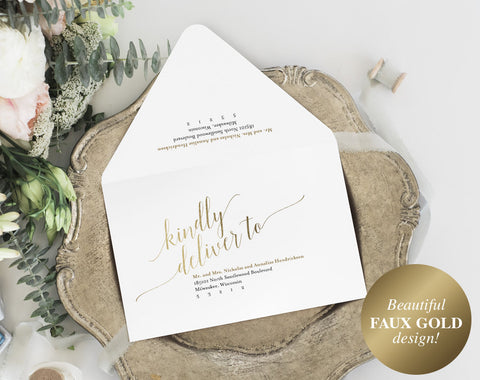 Calligraphy Wedding Envelope, Envelope Printable, Gold Wedding, Editable Envelope Template, A7, RSVP, PDF Instant Download #BPB324_34 - Bliss Paper Boutique