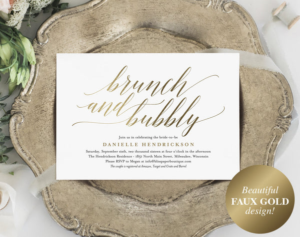 Brunch and Bubbly Invitation, Bridal Shower Invitation, Wedding Shower Invite, Bridal Shower Printable, PDF Instant Download #BPB324_12 - Bliss Paper Boutique