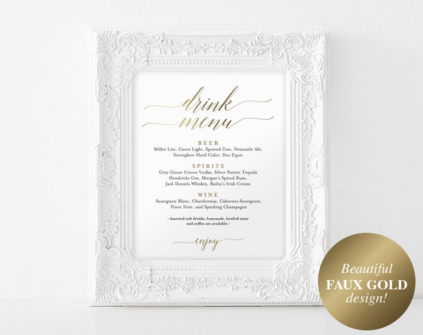 Faux Gold Bar Menu Sign, Drink Menu Sign, Bar Menu Printable, Wedding Sign, Wedding Bar Sign, Drink Menu, PDF Instant Download #BPB324_58B - Bliss Paper Boutique