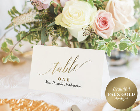 Wedding Place Cards, Wedding Place Card Printable, Place Card Template, Wedding Printable, Gold Wedding, PDF Instant Download #BPB324_6 - Bliss Paper Boutique