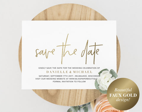 Gold Save The Date, Save the Date Template, Save the Date Cards, Wedding Printable, Save the Date Printable, PDF Instant Download #BPB323_2 - Bliss Paper Boutique