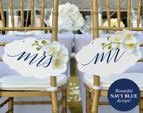 Mr and Mrs Chair Signs, Mr and Mrs Wedding Signs, Wedding Chair Signs, Navy Wedding Printable, PDF Instant Download #BPB320_23_1 - Bliss Paper Boutique
