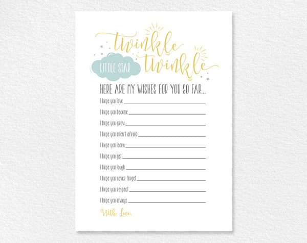 Twinkle Twinkle Little Star Baby Wishes, Wishes for Baby, Well Wishes, Game, Baby Shower Game, Gender Neutral, Instant Download #BPB196_4 - Bliss Paper Boutique