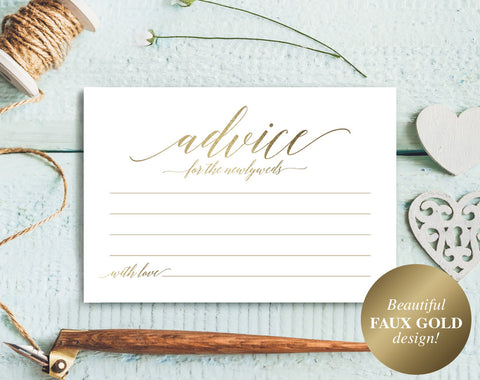 Wedding Advice Card, Gold Advice Card, Gold Wedding, Marriage Advice, Advice Cards, Wedding Printable, PDF Instant Download #BPB324_15 - Bliss Paper Boutique