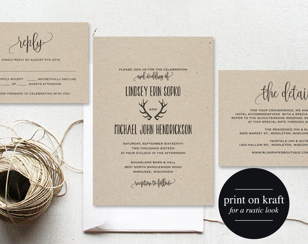 Rustic Wedding Invitation, Antler Wedding Invitation, Wedding Template, Invitation Set, Wedding Printable, PDF Instant Download #BPB289_1 - Bliss Paper Boutique