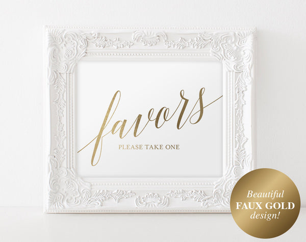 Wedding Favor Sign, Gold Wedding Favors Sign, Gold Wedding Sign, Gold Wedding Decor, Favors Printable, PDF Instant Download #BPB324_75B - Bliss Paper Boutique
