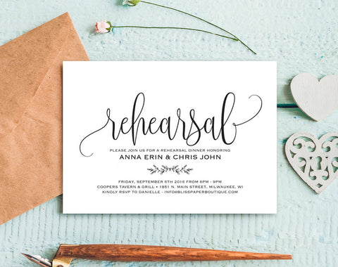 Rehearsal Dinner Invitation, Rehearsal Dinner Invitation Template, Rehearsal Invitation, Wedding Rehearsal, PDF Instant Download #BPB202_9B - Bliss Paper Boutique