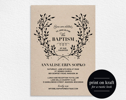 Baptism Template, Baptism Invitation Girl, Baptism Invitation Boy, Baptism Invitation Printable, Communion, PDF Instant Download #BPB296_2 - Bliss Paper Boutique