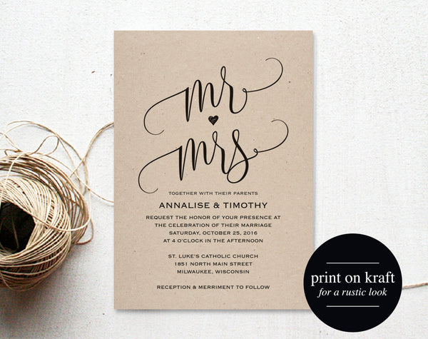 Wedding Invitation Template, Mr and Mrs Wedding Invitation, Wedding Invite, Wedding Printable, Template, PDF Instant Download #BPB203_1A - Bliss Paper Boutique