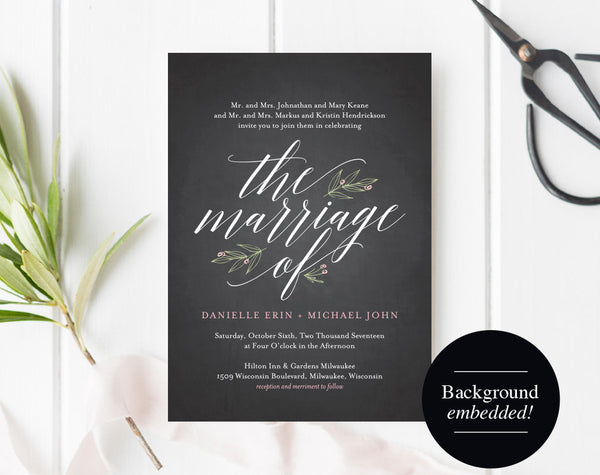 Wedding Invitation Template, Chalkboard Wedding Invitation, Wedding Printable, Wedding Invite Template, DIY, PDF Instant Download #BPB313_1 - Bliss Paper Boutique