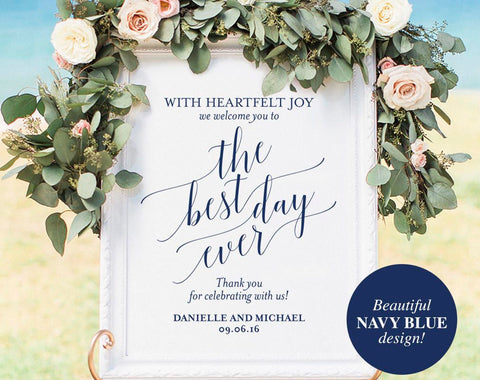Navy Welcome Wedding Sign, Welcome Wedding Printable, Best Day Ever Sign, Wedding Sign, Wedding Template, PDF Instant Download #BPB320_59 - Bliss Paper Boutique