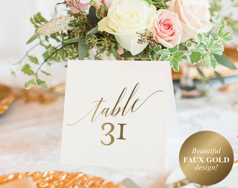 Gold Table Numbers, Wedding Table Numbers, Table Number Template, Wedding Printable, Gold Wedding, PDF Instant Download #BPB324_7 - Bliss Paper Boutique