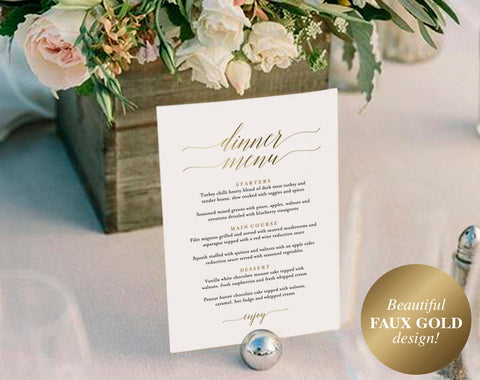 Gold Wedding Menu, Wedding Menu Template, Wedding Menu Sign, Menu Board, Wedding Menu Printable, PDF Instant Download #BPB324_4B - Bliss Paper Boutique