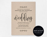 Kraft Wedding Invitation Printable, Rustic Invitation Set, Invite Template, Cheap Invitation, DIY, Kraft, PDF Instant Download #BPB202_1 - Bliss Paper Boutique