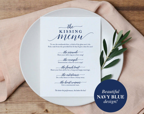 Navy Kissing Menu, Wedding Kissing Menu, Kissing Menu Printable, Wedding Sign, Wedding Game, Template, PDF Instant Download #BPB320_48 - Bliss Paper Boutique