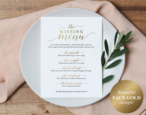 Faux Gold Kissing Menu, Wedding Kissing Menu, Kissing Menu Printable, Gold Wedding Sign, Wedding Game, PDF Instant Download #BPB324_48 - Bliss Paper Boutique