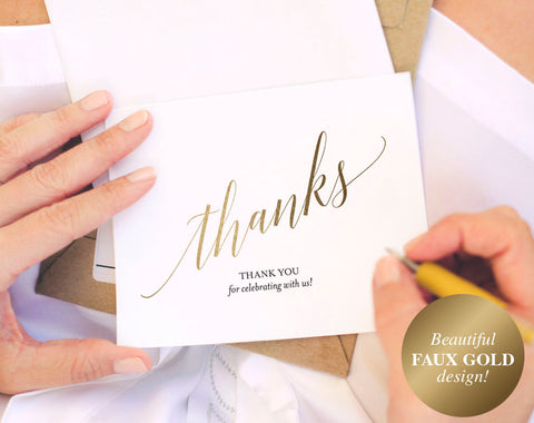 Faux Gold Thank You Cards, Thank You Notes, Thank You Cards Wedding, Wedding Printable, Gold Wedding, PDF Instant Download #BPB324_27 - Bliss Paper Boutique