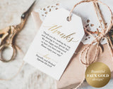 Faux Gold Thank You Tags, Wedding Thank You Tags, Gift Tags, Wedding Favor, Wedding Printable, PDF Instant Download #BPB324_32 - Bliss Paper Boutique
