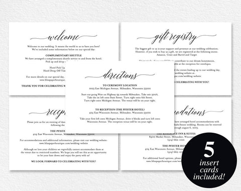 Enclosure Cards, Reception Card, Directions Card, Gift Registry Card, Accommodations Card, Welcome card, PDF Instant Download #BPB310_1_2 - Bliss Paper Boutique