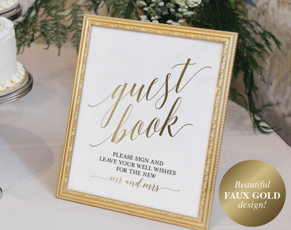Guest Book Sign, Guest Book Alternative, Guest Book Printable, Wedding Sign, Gold Wedding, Guest Book Idea, PDF Instant Download #BPB324_45C - Bliss Paper Boutique