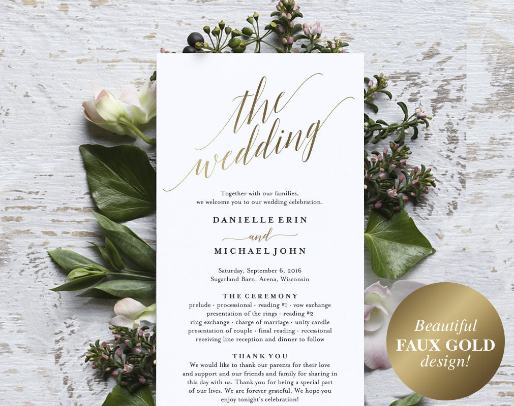 gold wedding program wedding program printable wedding programs