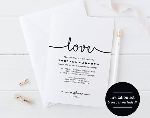 Wedding Invitation Printable, Wedding Invitation Set, Wedding Invitation Download, Wedding Invitation PDF, PDF Instant Download #BPB279_1 - Bliss Paper Boutique