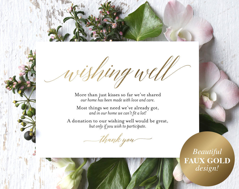 faux gold wishing well card  wedding wishing well  wishing well printa  u2013 bliss paper boutique