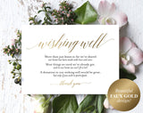 Faux Gold Wishing Well Card, Wedding Wishing Well, Wishing Well Printable, Template, in lieu of gifts, PDF Instant Download #BPB324_25 - Bliss Paper Boutique