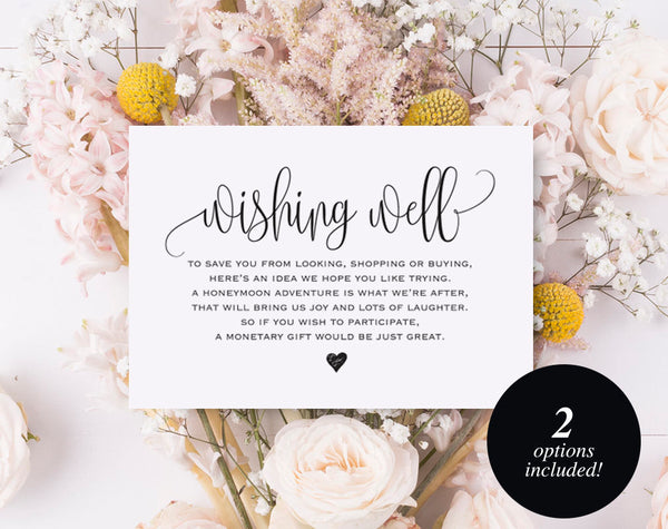 Wishing Well Card, Wedding Wishing Well, Wishing Well Printable, Wedding Insert, Wish Well, lieu of gifts, PDF Instant Download #BPB203_25 - Bliss Paper Boutique